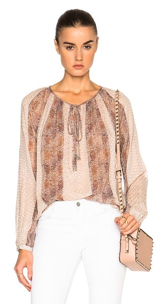 L'Agence Pearl Top in neutrals - 85% silk 15% nylon.  Made in China.  Sheer textured...