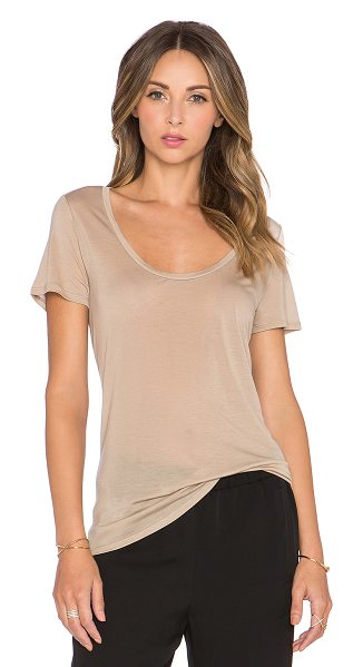 L'Agence Perfect scoop neck tee in beige