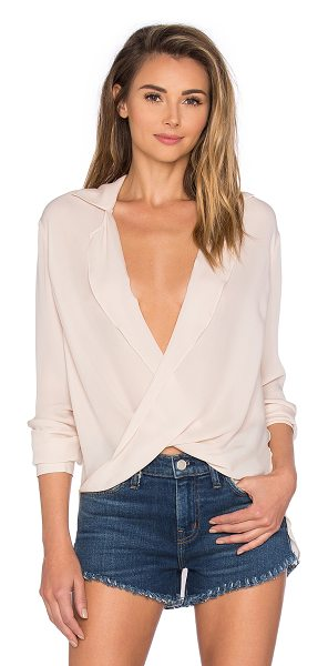 L'Agence Rita Drape Blouse in blush - 100% silk. Dry clean only. Front button closure. Twist...