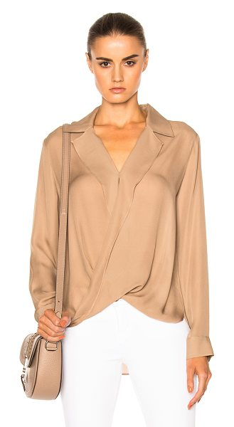 L'Agence Rita Drape Front Blouse in brown - 100% silk.  Made in China.  Dry clean only.  Surplice...