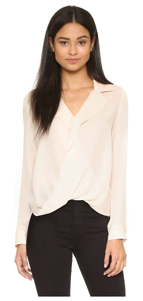L'Agence Rita drape front blouse in quartz - A L'AGENCE silk shirt with a twisted front. Fold over...