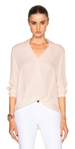 L'Agence Rita top in pink - 100% silk.  Made in China.  Draped fabric overlay on front.