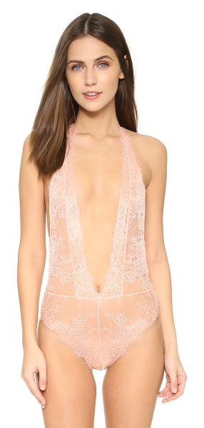 L'Agent by Agent Provocateur Grace bodysuit in blush/gold - Glitter dots shimmer on this delicate lace L'Agent by...