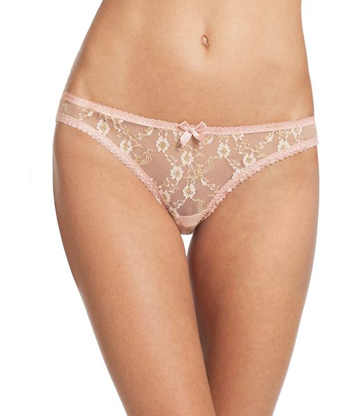 L'Agent by Agent Provocateur monica mini brief in pink - Enriched with beautiful floral detailing, these mesh...