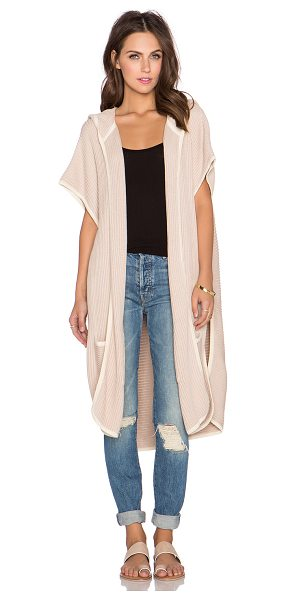 LAMADE Eva piped cardigan - Cotton blend. Open front. Hooded. Front patch pockets....