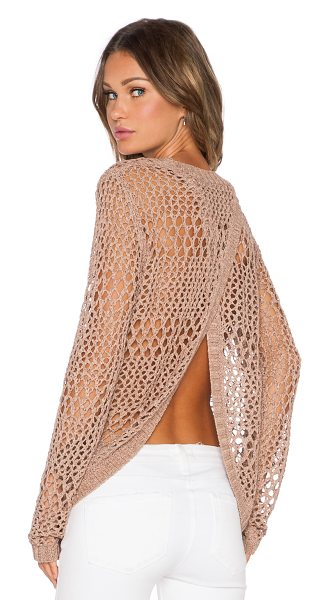 LAmade Jackie sweater in tan - 76% acrylic 24% nylon. Hand wash cold. Open back....