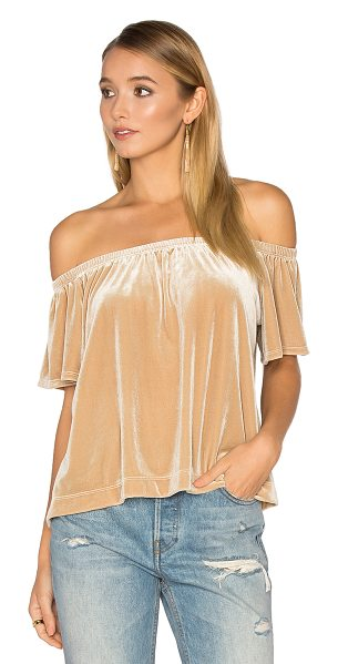 LAmade Tia Top in beige - 90% poly 10% spandex. Dry clean only. Elastic neckline....