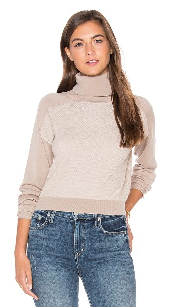 LAmade Trish Cropped Sweater in camel combo - 55% silk 45% cotton. Hand wash cold. Banded edges....