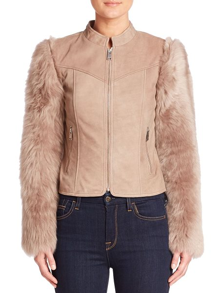 LaMarque casta shearling moto jacket in taupe - Statement sleeves frame shearling moto jacket. Stand...