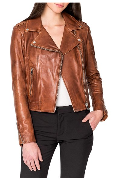 LaMarque Donna Hand-Waxed Leather Moto Jacket in brown