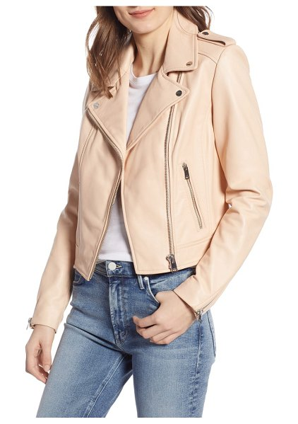 LaMarque donna lambskin leather moto jacket in pink