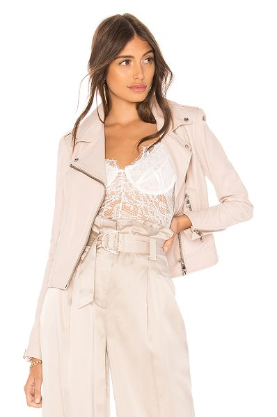LAMARQUE Donna Leather Biker Jacket in blush - Self: 100% leatherLining: 97% poly 3% spandex. Leather...