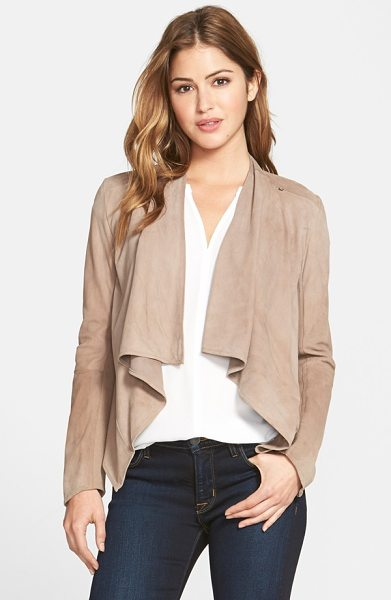 LaMarque drape front suede jacket in latte - Deliciously soft suede lends lovely drape to an elegant,...