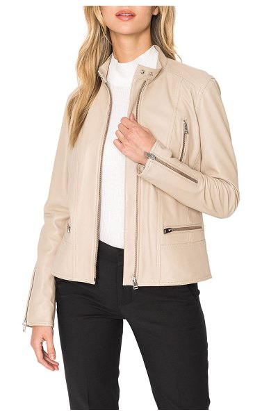 LaMarque Meryl Snap Stand Collar Leather Moto Jacket in desert 8420