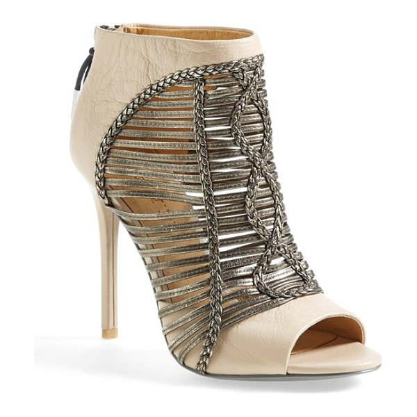 L.A.M.B. kacee peeptoe bootie in vanilla leather - Shimmering metallic cage straps, curvy braided accents...