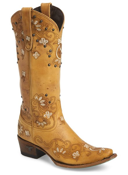 LANE BOOTS sweet paisley embroidered western boot in beige