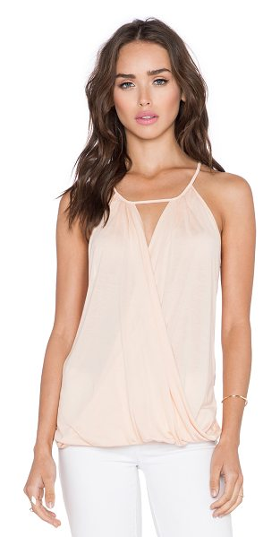 Lanston Fine gauge surplice cami in peach - 100% siro modal. Back button closure. LANS-WS287. L 925....