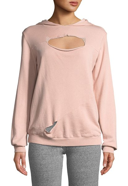 "Lanston Slashed Long-Sleeve Hooded Sweatshirt in light pink - Lanston ""Slashed"" hoodie in French terry with raw-edge..."