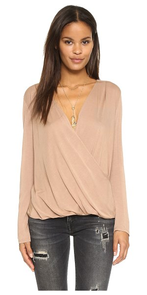 Lanston Surplice long sleeve top in camel - An easy, draped surplice top by Lanston. Gathered...