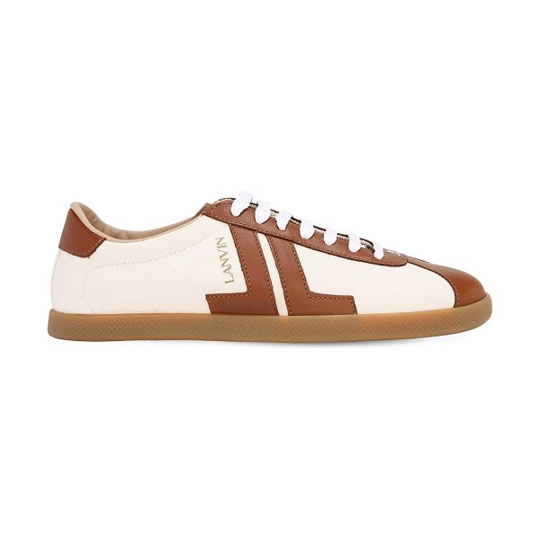 Lanvin 10mm canvas & leather low top sneakers in beige,brown