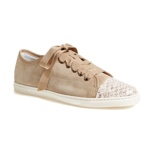 Lanvin cap toe sneaker in natural - A low-top sneaker features Lanvin's signature grosgrain...