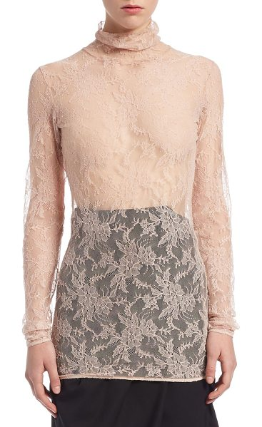 Lanvin chantilly lace pullover top in nude - Elegant lace top exudes a feminine appeal. Turtleneck....