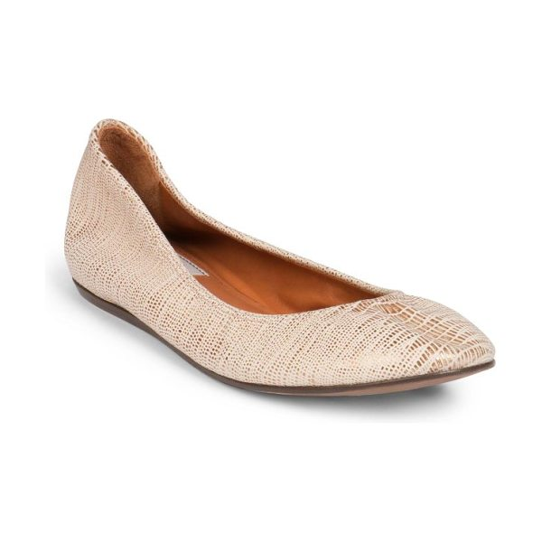 Lanvin Classic lizard-embossed metallic leather ballet flats in lightgold - A simplistically chic ballet flat crafted in supple...