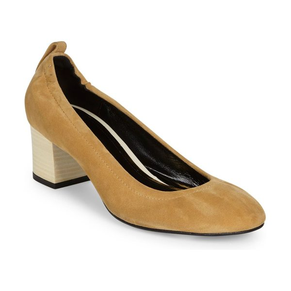LANVIN cube-heel suede ballet pumps - Iconic suede ballet flat set on stacked cube heel....
