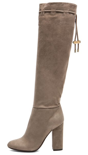 Lanvin Knee high suede boots in neutrals - Goatskin suede upper with calfskin leather sole.  Made...