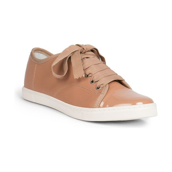 LANVIN Leather ribbon lace-up low-top sneakers - A lustrous patent cap toe exemplifies these supple...
