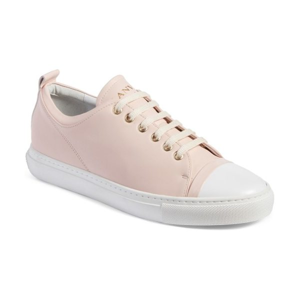 Lanvin low top sneaker in light pink/ white - A contrast cap toe adds an extra flash of throwback...