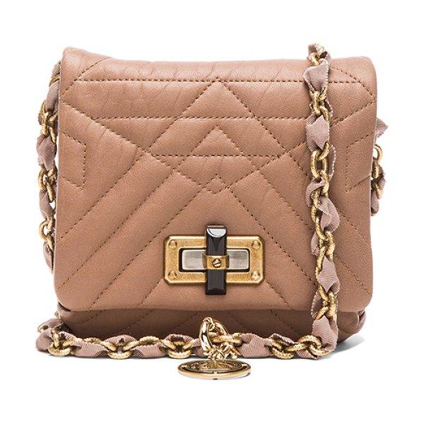 Lanvin Mini happy quilted pop in brown - Quilted lambskin leather with signature jacquard fabric...