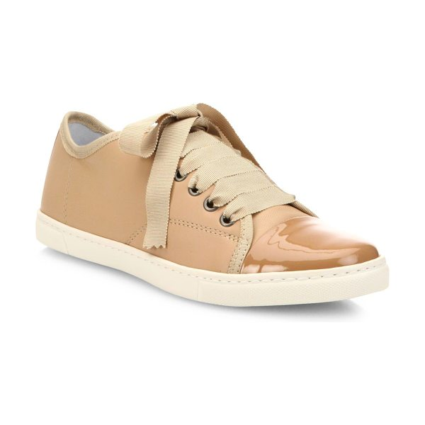 LANVIN patent cap toe leather low-top sneakers - Leather low-tops with high-shine patent cap toe. Leather...