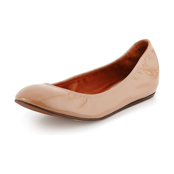 Lanvin Patent Leather Ballerina Flat in nude - Lanvin patent leather ballerina flat. Scrunched collar...