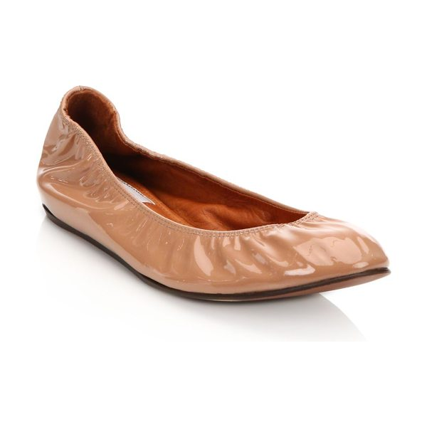 LANVIN patent leather ballet flats in nude - Glossy patent leather lends high shine to classic flat....