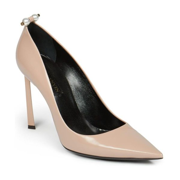 Lanvin Pearl-studded leather pumps in nude - Pearls dot these classically chic leather pumps with a...