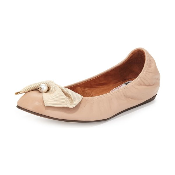 Lanvin Pearly Bow Ballerina Flat in nude - Lanvin soft leather ballerina flat. Round toe. Grosgrain...