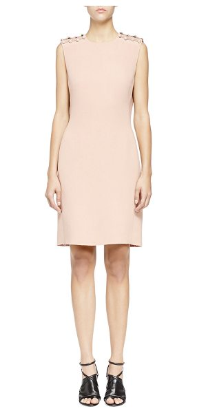 Lanvin Pearly pierced washed cady sheath dress in nude - Lanvin dress. Washed cady. Synthetic pearl piercings...