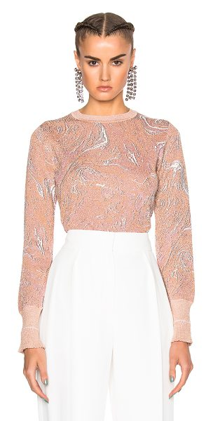 Lanvin Print Metallic Knit Top in blush - 69% viscose 28% poly 2% polyamide 1% elastan. Made in...