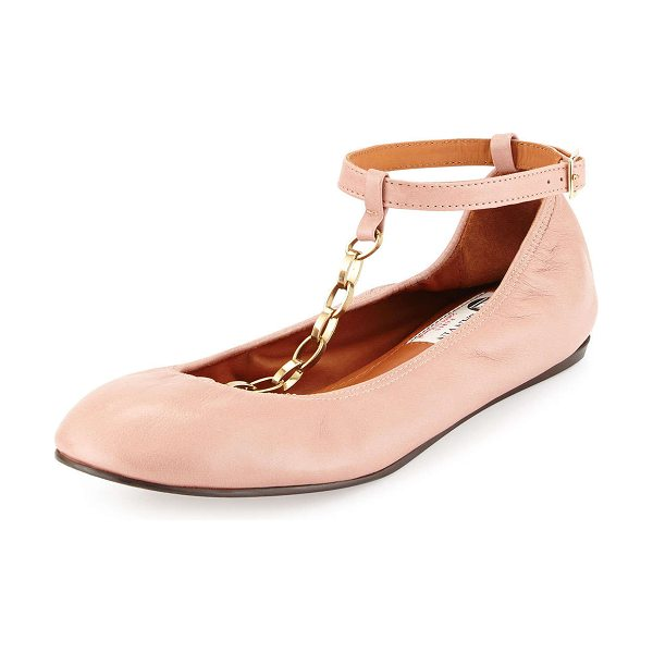 Lanvin Scrunched chain leather ballerina flat in nude -  Smooth leather ballet flat in Lanvin signature style....