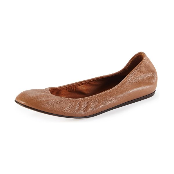 Lanvin Scrunched leather ballerina flat in nude - Smooth goatskin ballet flat in Lanvin signature style....