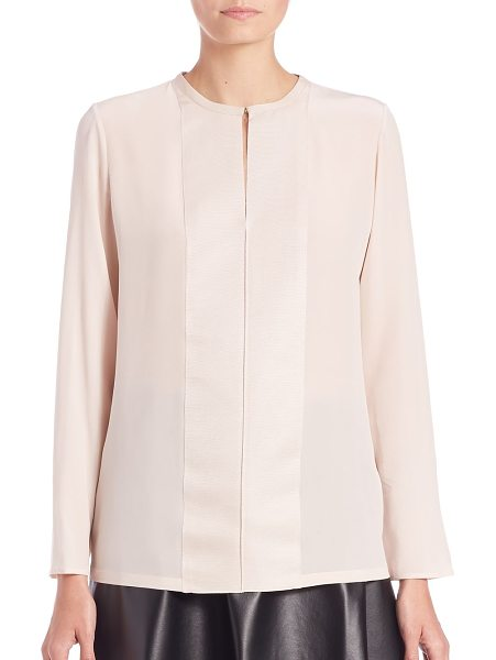 LANVIN Silk & grosgrain blouse - Signature grosgrain panels accent the placket of this...