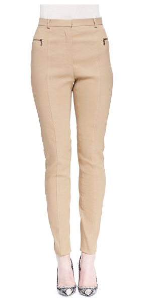 LANVIN Skinny Zip-Pocket Biker Pants - Lanvin linen-blend woven biker pants. Banded waist; two...
