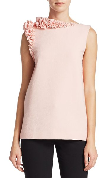 LANVIN sleeveless ruffle top - Sleeveless structured top with asymmetric ruffle trim...