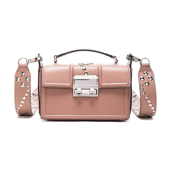 Lanvin Small Leather Jiji Box Bag in neutrals - Calfskin leather with signature jacquard fabric lining...