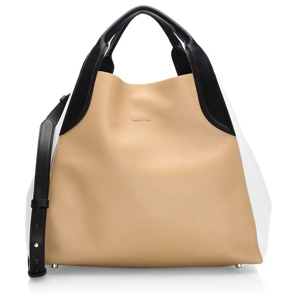 Lanvin small leather tote bag in beige - Small leather tote bag colorblock style. Double top...