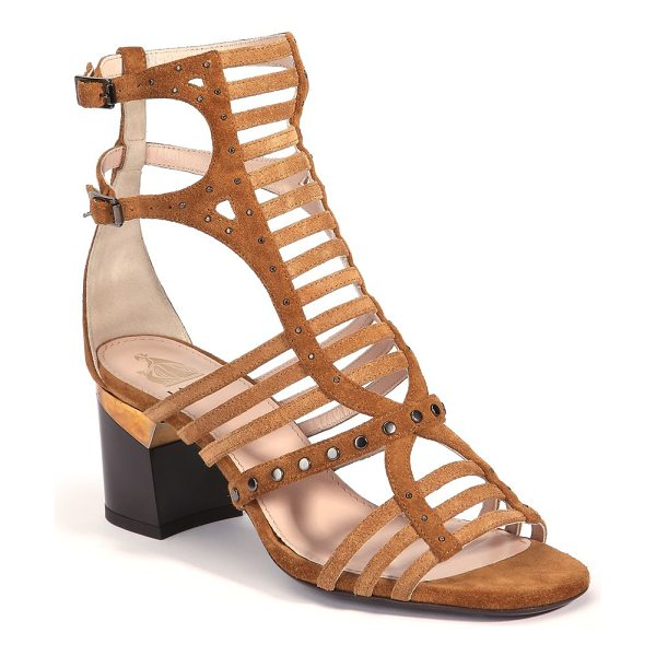 Lanvin Strappy studded suede sandals in camel