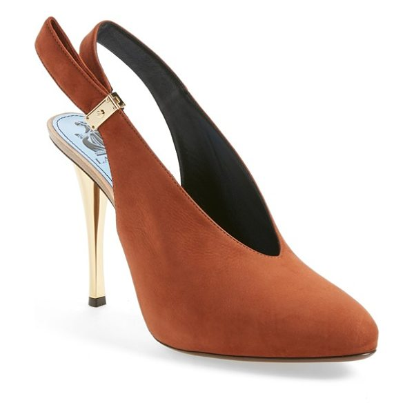 Lanvin suede slingback pump in brown suede - A gleaming golden heel in a slim silhouette elegantly...