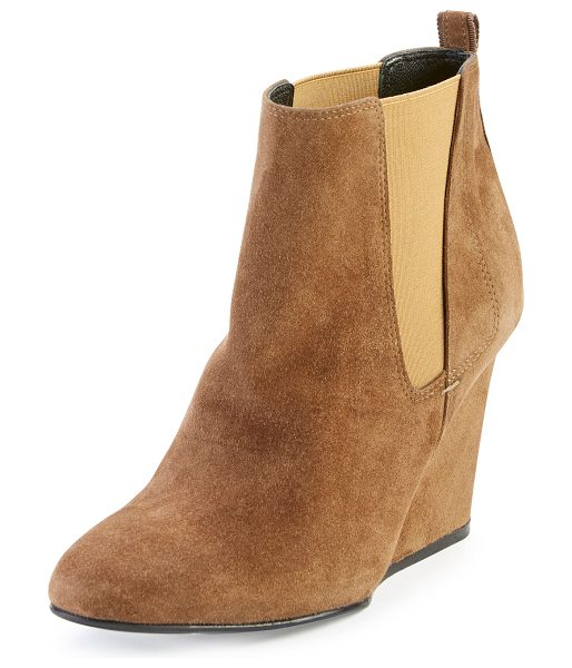 "LANVIN Suede Wedge Chelsea Boot - Lanvin suede Chelsea boot. 4"" covered wedge heel. Round..."