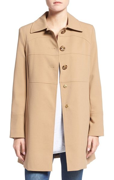 Larry Levine club collar walker coat in camel - A broad club collar makes an elegant start atop a...